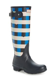 Hunter Original Tall Gingham Waterproof Rain Boot (Women) (Wide Calf)
