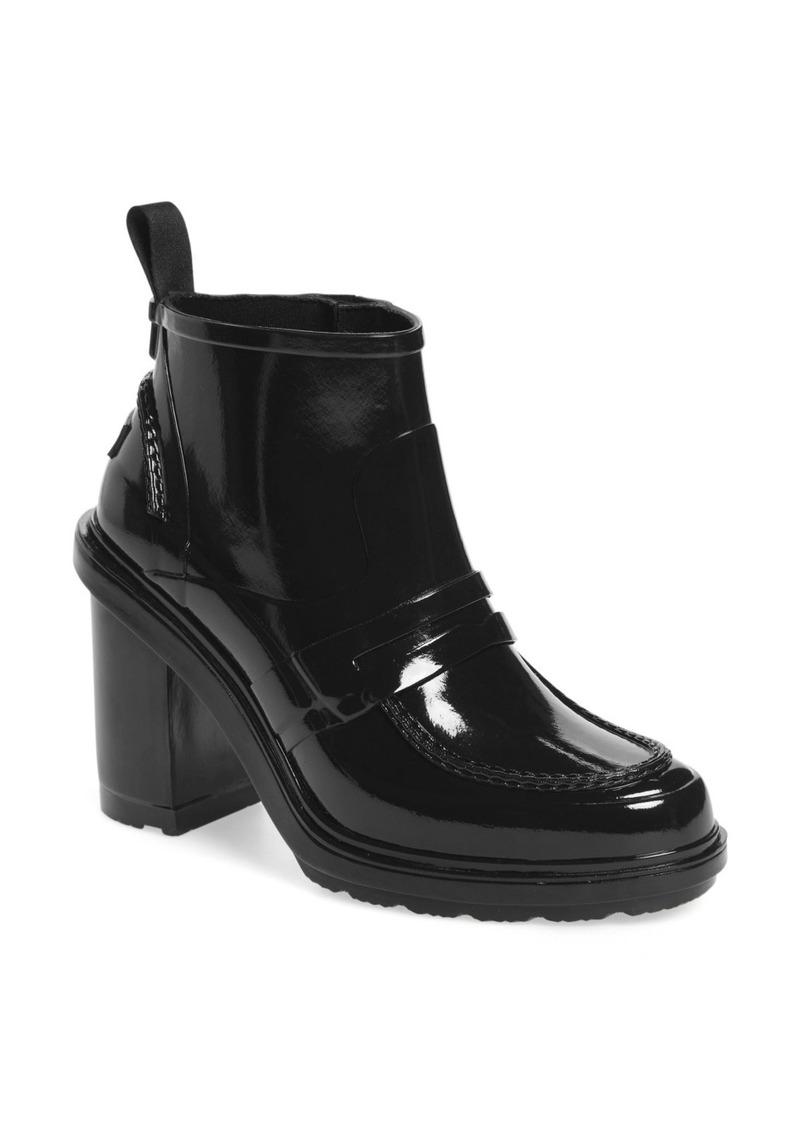 first rate 7106d 9126d Refined Gloss Penny Loafer High Heel Rain Boot (Women)