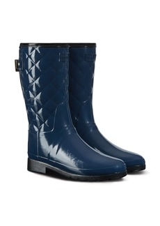 Hunter Refined High Gloss Quilted Short Rain Boot (Women)