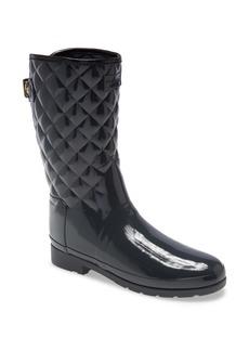 Hunter Refined High Gloss Quilted Short Waterproof Rain Boot (Women)