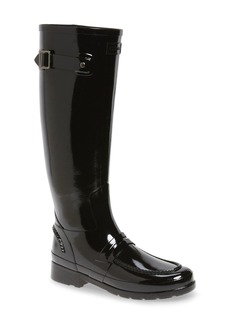 Hunter Refined Tall Gloss Penny Loafer Rain Boot (Women)