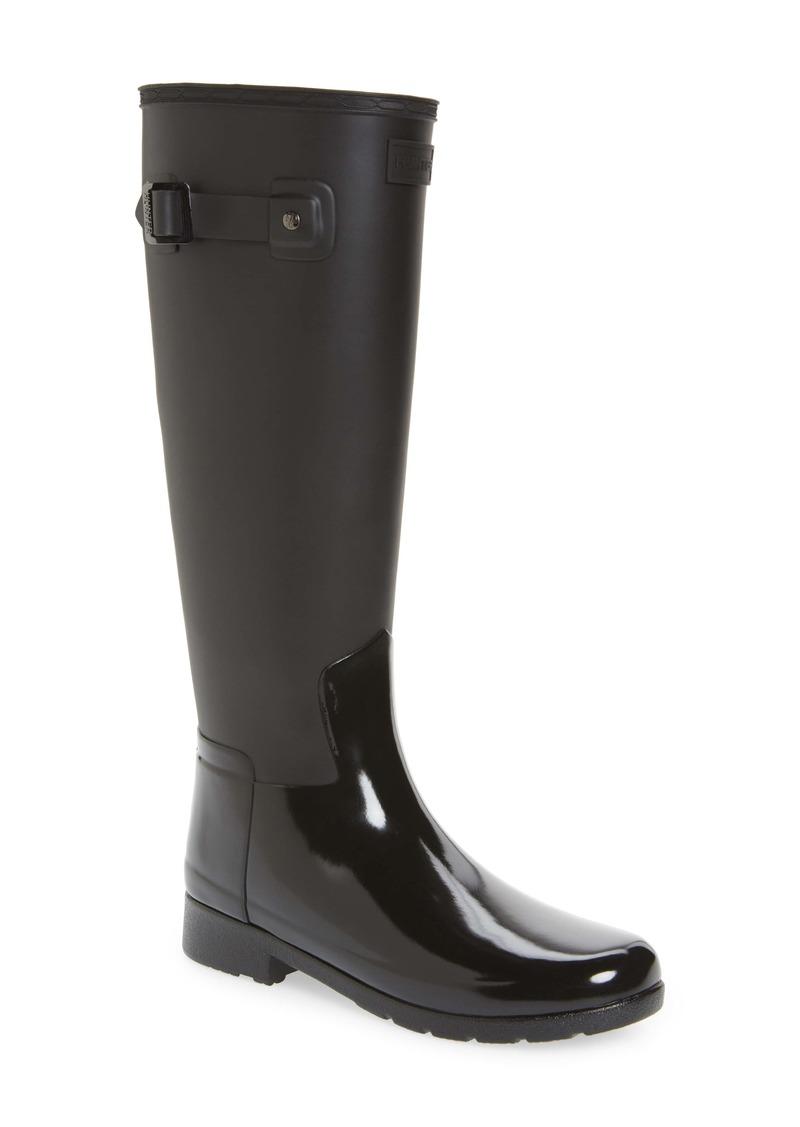Hunter Refined Tall Matte Gloss Waterproof Rain Boot (Women)