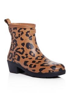 Hunter Women's Refined Leopard Print Matte Block-Heel Rain Booties
