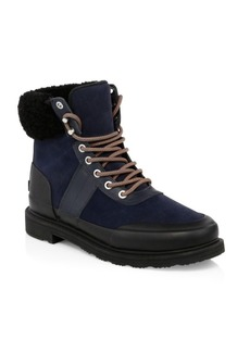 Hunter Insulated Shearling-Lined Leather Commando Hiking Boots