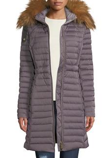 Hunter Refined Long Puffer Coat w/ Faux Fur Hood