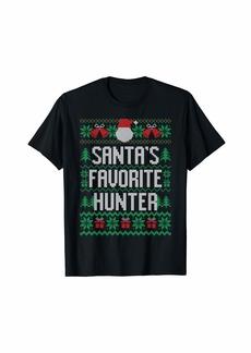 Santa's Favorite Hunter Funny Knitted Christmas Gift T-Shirt