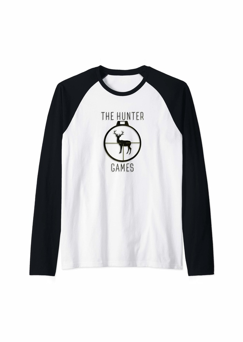 The Hunter Games Buck Mule Deer Hunting Dad Hunters Gift Raglan Baseball Tee