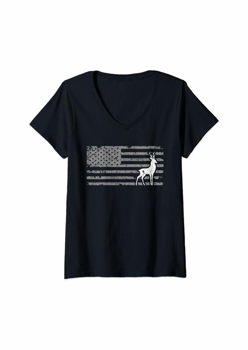 Womens Cool Bow Hunting US Flag Design Deer Hunter Gift V-Neck T-Shirt