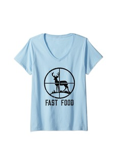 Womens Fast Food Deer Hunting T-Shirt Funny Gift For Hunters V-Neck T-Shirt