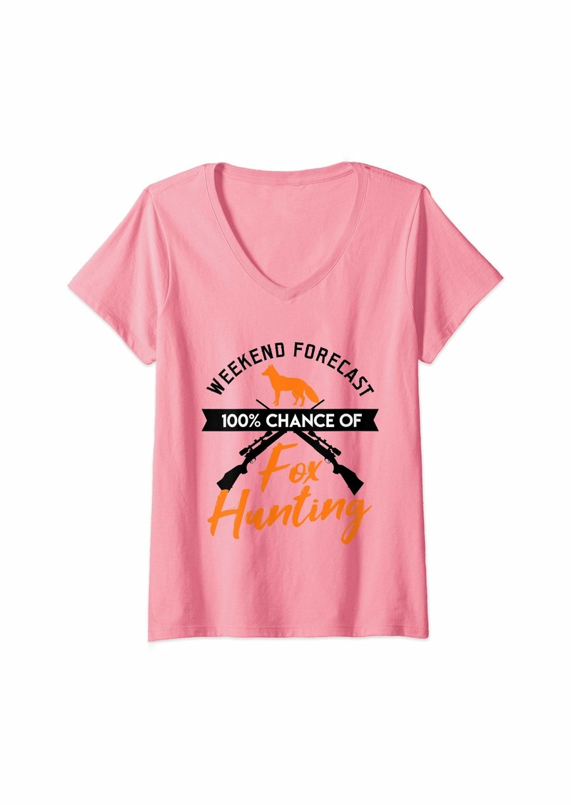 Womens Funny Fox Hunting Hunter Weekend Forecast Hunt Gift Dad V-Neck T-Shirt