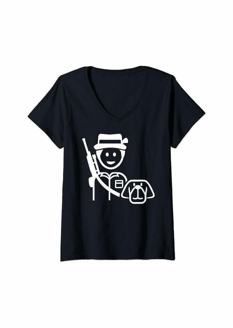 Womens Hunter with dog V-Neck T-Shirt