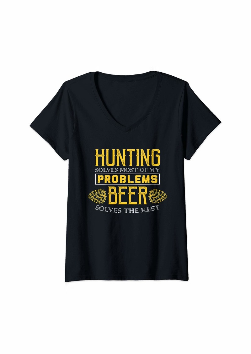 Hunter Womens Hunting Shirt - Solves Most Of My Problems - Beer Shirt V-Neck T-Shirt