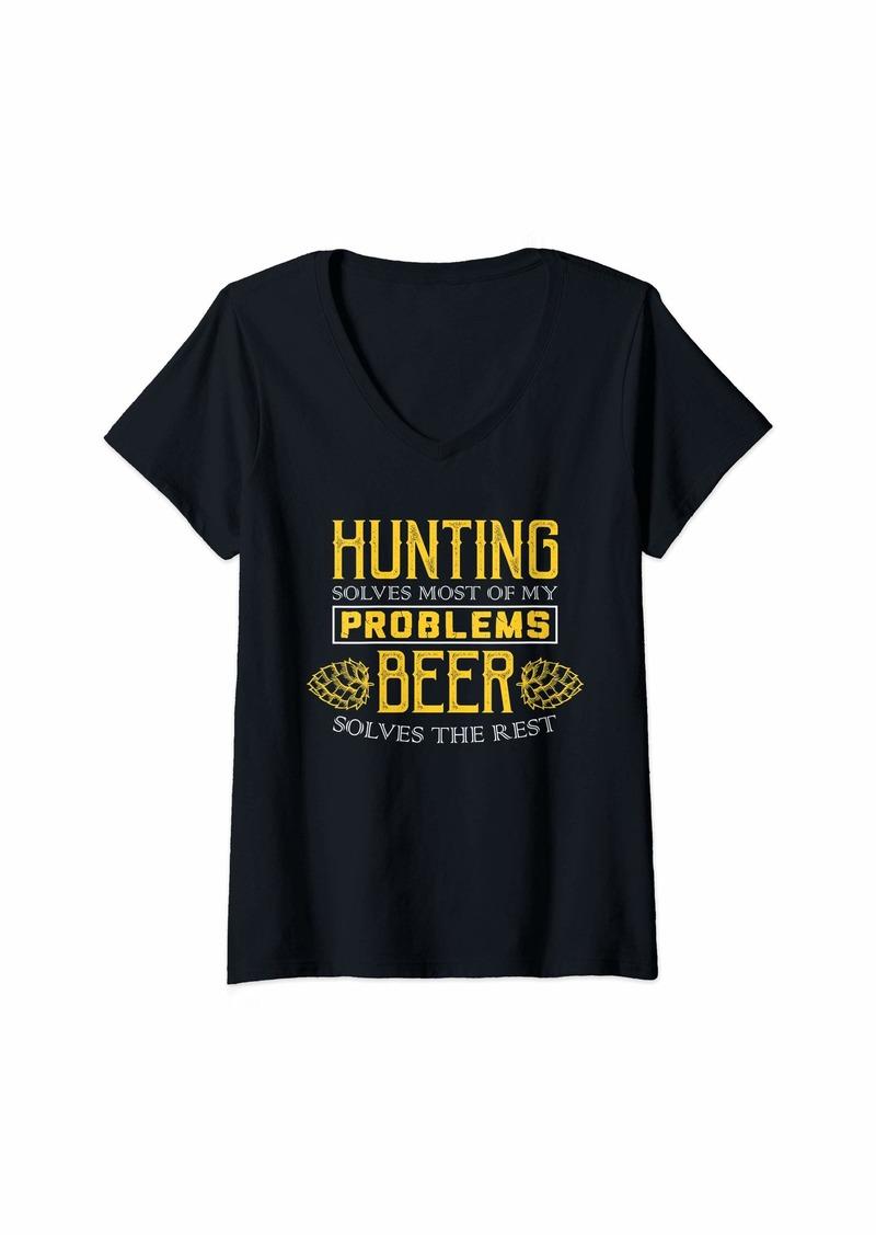 Hunter Womens Hunting Shirt - Solves Most Of My Problems - Beer Shirt V-Neck T-Shirt