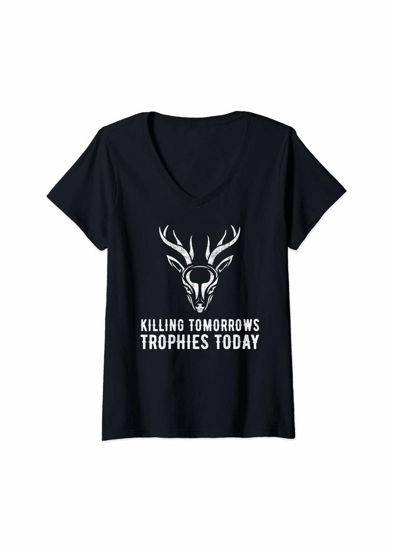 Hunter Womens Killing Tomorrow's Trophies Today Xmas Ventige Deer Hunting V-Neck T-Shirt