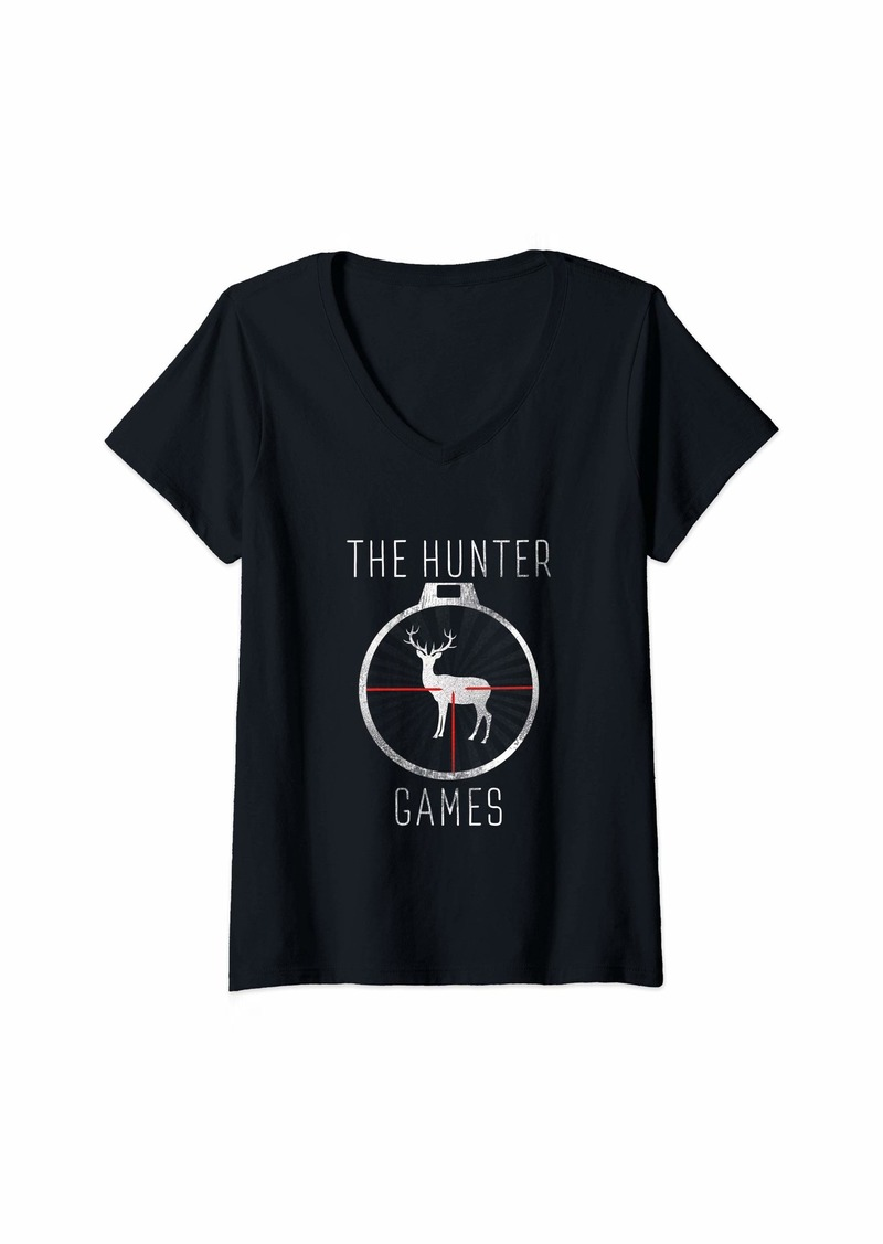 Womens The Hunter Games Buck Mule Deer Hunting Dad Hunters Gift V-Neck T-Shirt