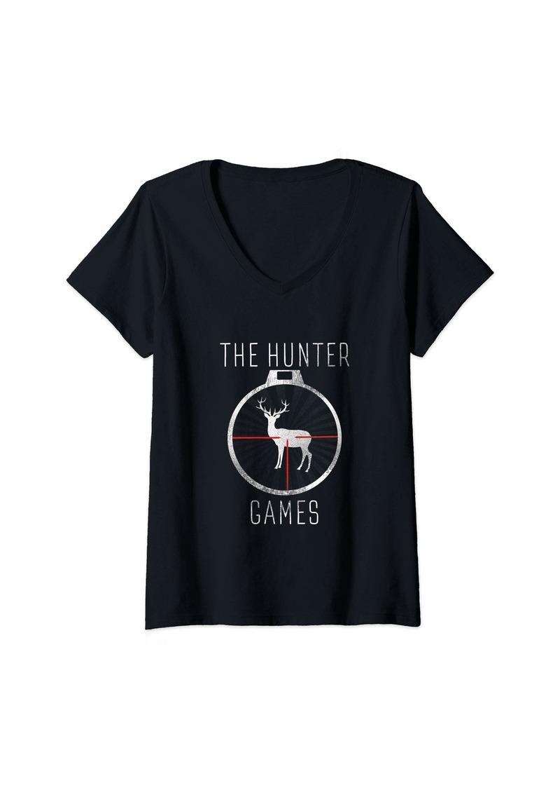 Womens The Hunter Games Buck Mule Deer Hunting Dad Hunters Gift V-Neck T-Shirt