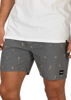 "Hurley 17"" Birds Print Volley Shorts"