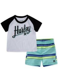 Hurley Baby Boys 2-Pc. T-Shirt & Striped Swim Trunks Set