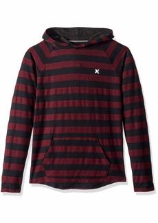 Hurley Boys' Little Long Sleeve Hooded Pullover deep Maroon Stripe