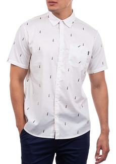 Hurley Classic Fit Pineapple Print Stretch Short Sleeve Button-Up Shirt