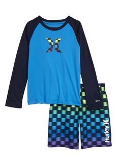 Hurley Crystal Cove Rashguard & Swim Trunk Set (Toddler & Little Boy)
