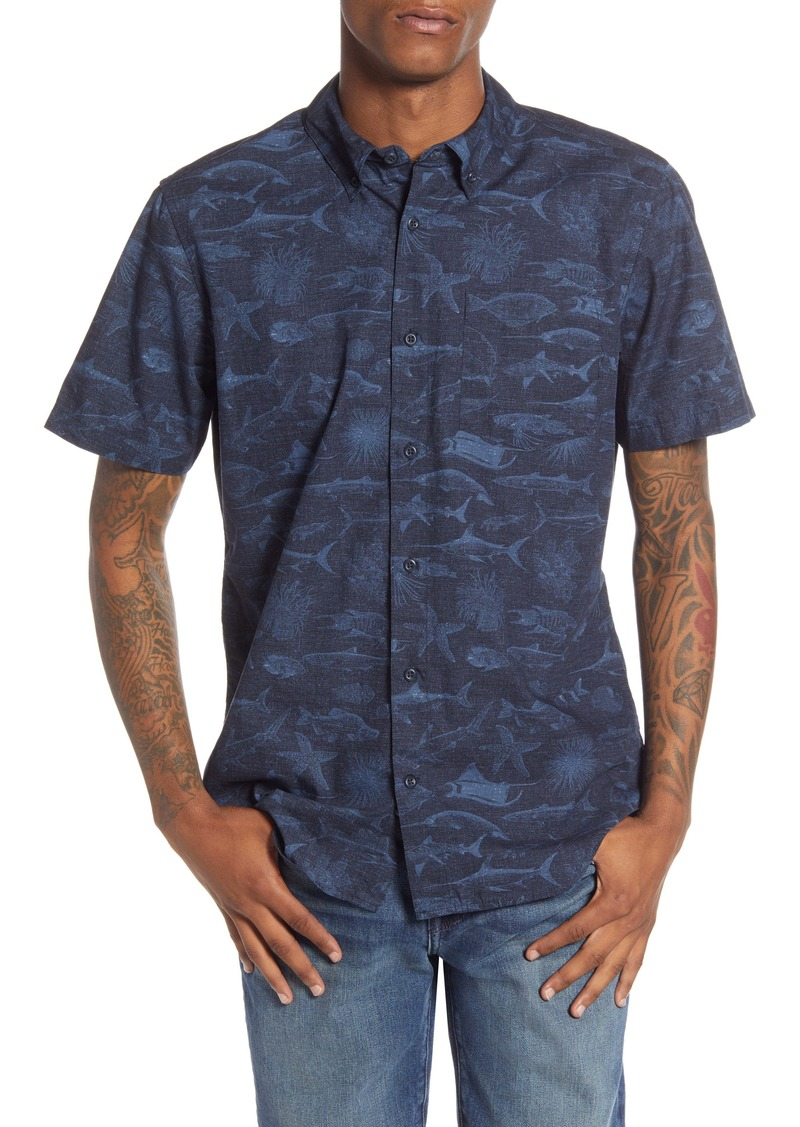 Hurley Gone Fishin' Short Sleeve Cotton Button-Down Shirt