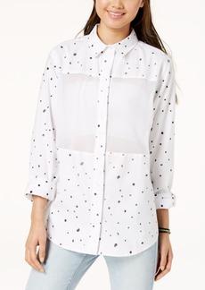 Hurley Juniors' Wilson Mesh Dot Button-Up Shirt