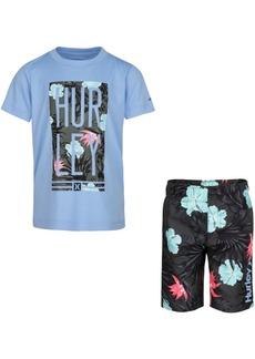 Hurley Little Boys 2-Pc. Logo Floral Box Logo T-Shirt & Board Shorts Set