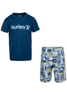 Hurley Little Boys 2-Pc. Logo Rash Guard Set