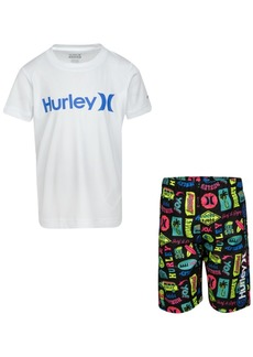 Hurley Toddler Boys 2-Pc. Logo-Print Rash Guard Set