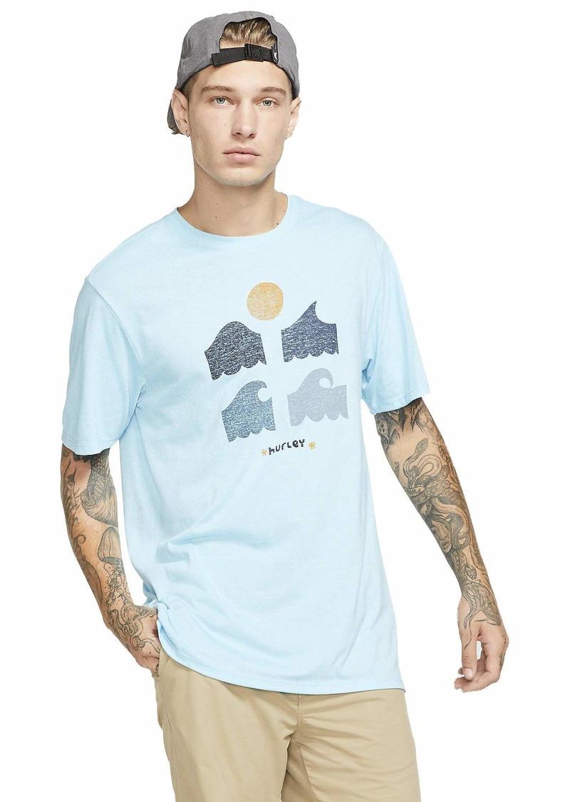 Hurley Men's Breaker Tri-Blend Short Sleeve Tshirt Blue Gaze HTHR XL