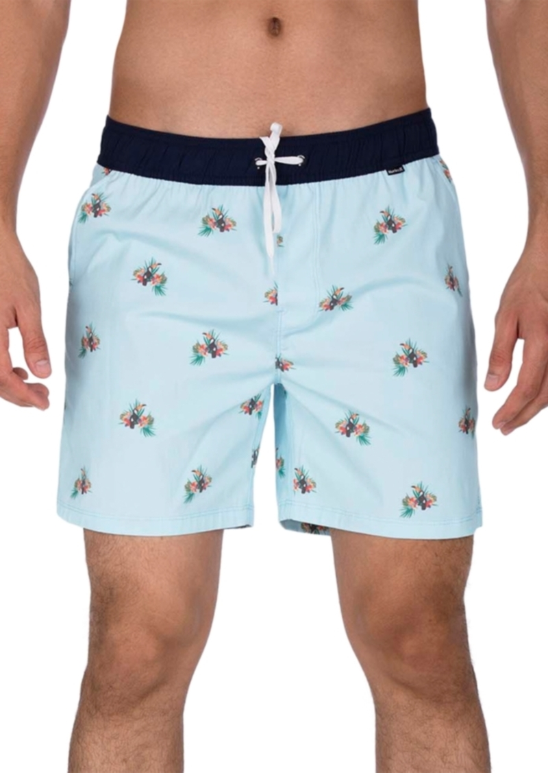"Hurley Men's Canopy Stretch Tropical-Print 17"" Swim Trunks"