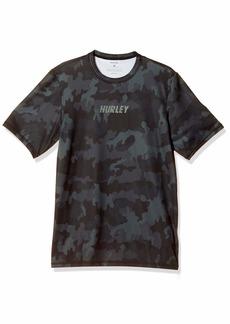 Hurley Men's Fastlane Short Sleeve Active Sun Shirt Rashguard SPF  S
