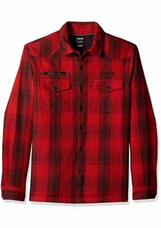 Hurley Men's Kyoto Heavy Weight Plaid Flannel Button Up Shirt University red L