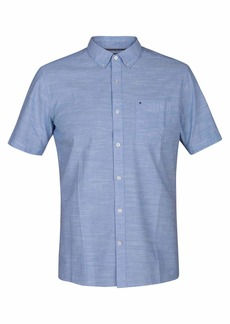 Hurley Men's One & Only Textured Short Sleeve Button Up Blue ox XL
