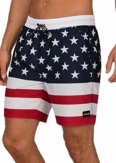 "Hurley Men's Patriot USA 18"" Inch Elastic Waist Volley Swim Short  XL"