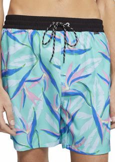 "Hurley Men's Printed Elastic Waist 17"" Inch Volley Swim Shorts  L"