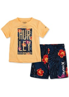 Hurley Toddler Boys 2-Pc. Floral Logo Rash Guard Set