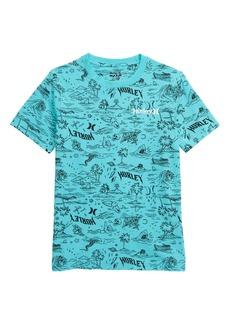 Hurley Waikiki Doodle Print T-Shirt (Big Boy)