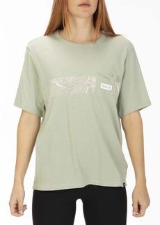 Hurley Women's Apparel Women's Domino Stripe Oversized Pocket Crew Tshirt  M