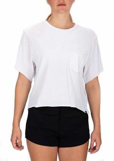 Hurley Women's Apparel Women's Dwellers Short-Sleeve Pocket Crop Top Crew Neck Tee  XS