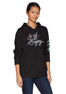 Hurley Women's Apparel Women's Fleece Kangaroo Pocket Surf and Enjoy Pullover Hoodie