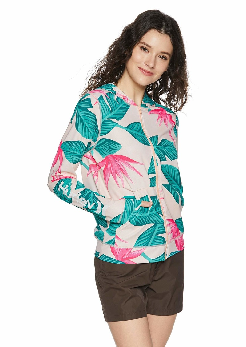 Hurley Women's Apparel Women's Full-Zip Long-Sleeve Hooded Hanoi Floral Rashguard