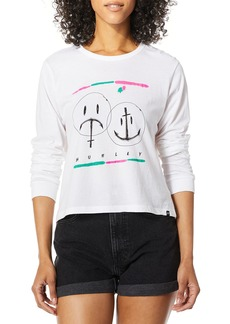 Hurley Women's Apparel Women's Laugh Now Shred Later Perfect Long-Sleeve Tee  S