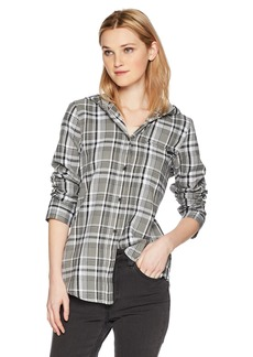 Hurley Women's Apparel Women's Long-Sleeve Hooded Plaid Flannel Button Down Sweatshirt  Extra Small
