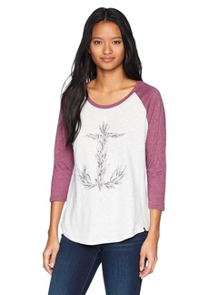 Hurley Women's Apparel Women's Raglan ¾ Contrast Sleeve Nautical Screen-Printed T-Shirt