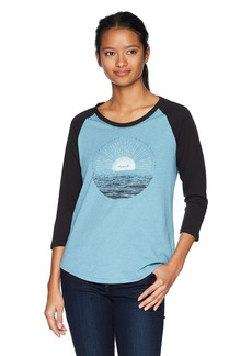 Hurley Women's Apparel Women's Raglan ¾ Contrast Sleeve Sunrise Screen-Printed T-Shirt  Extra Small