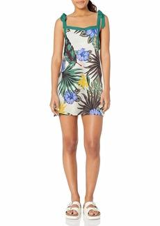 Hurley Women's Printed Shoulder Tie Woven Dress  M