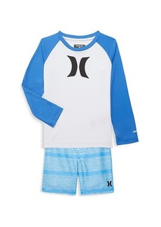 Hurley Little Boy's 2-Piece Dri-FIT UV Protection Rashguard & Swim Trunks Set