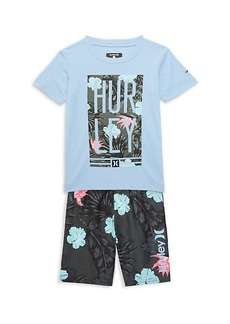 Hurley Little Boy's 2-Piece Military Floral Rashguard & Swim Trunks Set